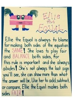 Ellie the Equal Anchor Chart for teaching equations. 2nd Grade Classroom, 1st Grade Math, Math Classroom, Kindergarten Math, Future Classroom, Classroom Ideas, Grade 1, Second Grade, Math Resources