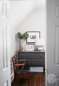 storage AND a surface for objects - use a chest of drawers in a small space (A Designer's Elegant DC Home - @Homepolish Washington DC)