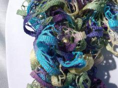 Crochet Ruffle Scarf, Sweet Hydrangea, shades of purple, turquoise, yellow & green, 58 long. #DS0005