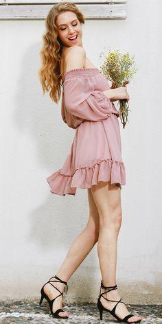 Blush off-shoulders Chiffon Ruffle Sexy Dress $24 shop @ pinkpicot.com