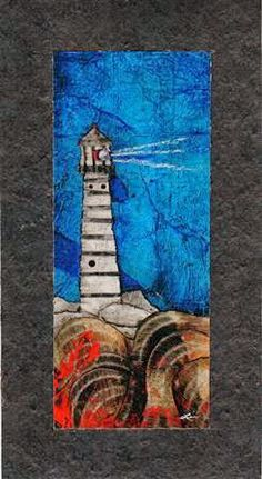 Collage art of Laura Lein-Svencner: Tar paper collages-Lighthouses