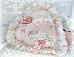 Pink Valentine Elegant & Sweet Heart Roses Ruffled Sachet Pillow Designs By Lynn-pink, roses, shabby, chic, ruffles, Victorian, Vintage, Lynn, Barkcloth, PINK,