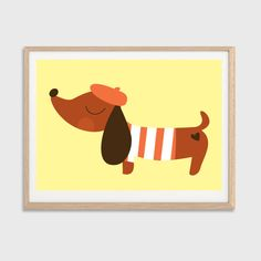 Baby Sausage Dog In Beret Poster : Modern Illustration Retro Art Wall Decor Print 8 X 10. $7.00, via Etsy. #babylettostyle