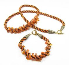 Orange and Brown Kumihimo Jewelry Set by kiddercreations on Etsy