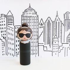 Audrey Hepburn Kokeshi Doll - Breakfast at Tiffany's - Sketchinc