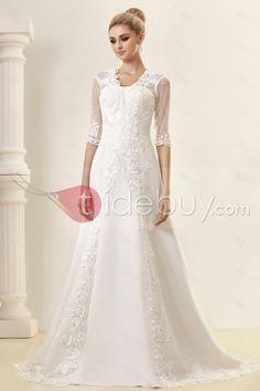 Aラインハーフスリーブ床までの長さチャペルレース刺繍ウェディングドレス