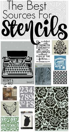 Best Stencil Sources The best sources for stencils. There are so many amazing stencil project ideas from these stencil resources! I picked a few of my favorites, but you will want to hunt around for your favorite stencil too. Free Stencils, Stencil Templates, Stencil Diy, Stencil Designs, Bird Stencil, Damask Stencil, Stencil Patterns Letters, Free Printable Stencils, Craft Stencils