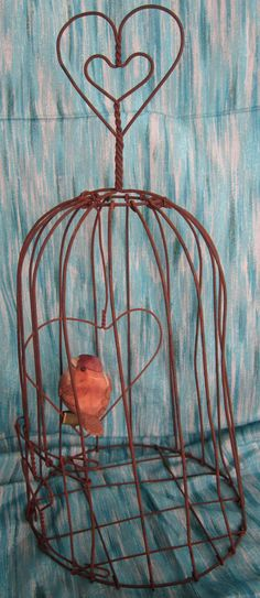 Wire Bird Cage Decorative Rustic Bird Cage by CollectibleCorner, $9.00
