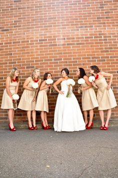 i would have not thought about these colors for a wedding - but i really love them together...and those red shoes are great!
