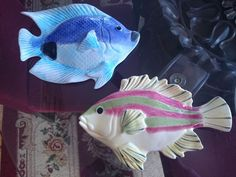 SET OF 2 VINTAGE CERAMIC FISH WALL DECOR ~ EUC Fish Wall Decor, Fish Wall Art, Pretty Fish, Ceramics, Animals, Ceramic Fish, Vintage Ceramic, Stuffed Fish, Ceramica