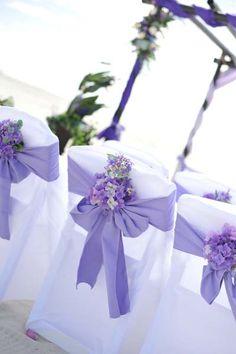 Big Day Weddings, Beach Weddings, Purple Beach Setup, Purple Color Scheme, Purple Wedding Theme, purple beach wedding, purple beach wedding setup, purple chair sash