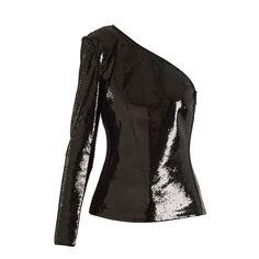 Diane Von Furstenberg One-shoulder sequin-emebllished top ($898) ❤ liked on Polyvore featuring tops, black, one-shoulder tops, sequin embellished top, diane von furstenberg tops, off one shoulder tops and stretchy tops