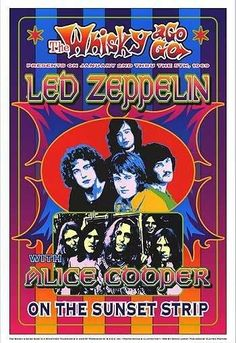 Vintage, retro, classic rock poster - Led Zeppelin and Alice Cooper. Led Zeppelin Tour, Led Zeppelin Concert, Led Zeppelin Poster, Hard Rock, Tour Posters, Band Posters, Music Posters, Alice Cooper, John Bonham