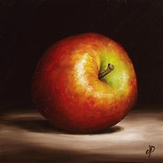"""Good example of  the importance of dark.   Daily Paintworks - """"Braeburn Apple #2"""" by Jane Palmer"""