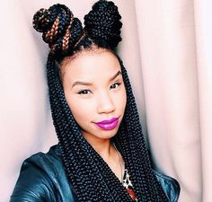 Box braid buns Braids Beauty, Two Braids Nature Hair, Beauty Hair, Braids Twists Lov, Protective Style, Hair Style, Hair Protective, Braids Locs Twists, Braids Buns
