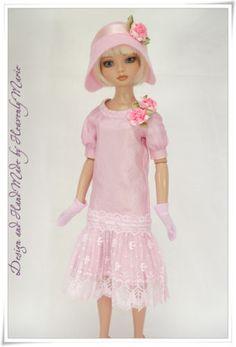 Ellowyne-OOAK-1920-Drop-waist-Dress-Set-Tonner-Doll-Outfit-by-Heavenly-Marie