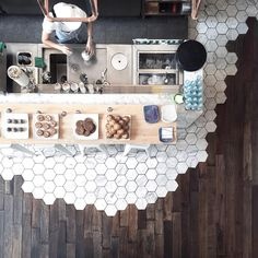 Hexagonal Tiles and Hardwood Make the Most Beautiful Flooring Combination - Transitional Flooring