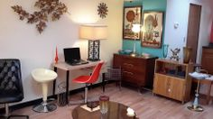 "Kent Coffey Dresser - $$$OLD$$$,  Herman Miller and Chromcraft Chairs - $$$OLD$$$  ""Leaves"" Metal Art by Becker of Denver - For sale @ Mod Makes It!   ...    303-990-5893"