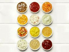 50 condiment recipes Dress up burgers, hot dogs and more with fun and fast toppings from Food Network Magazine Food Network Recipes, Cooking Recipes, Cooking Food, Cooking Network, Cooking Bacon, Dog Recipes, Paleo Recipes, Delicious Recipes, Chutney