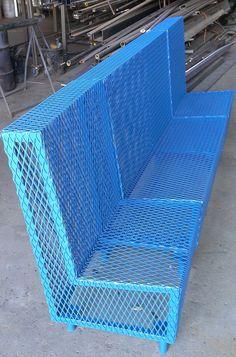 Bluesteel Perforated Steel Bench Furniture Fabricated By Napa Valley Custom Metal