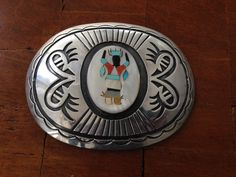 Beautiful Vintage Hopi Overlay Sterling Silver Buckle with Zuni Inlay Dancer Native American Jewelry(Etsy のiCollectSouthwestより) https://www.etsy.com/jp/listing/199464222/beautiful-vintage-hopi-overlay-sterling