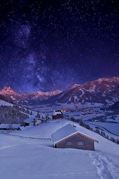 Find images and videos about nature, sky and winter on We Heart It - the app to get lost in what you love. Winter Szenen, Winter Magic, Winter Night, Winter Walk, Winter White, Beautiful World, Beautiful Places, Beautiful Hotels, Beautiful Sky