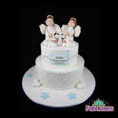 Twins Christening Cake  Cake by FabCakes