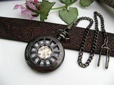 Neo Victorian Black Mechanical Pocket Watch 17 Jewel - Pocket Watch Chain - Watch - Best Man - Groomsmen Gift - Item MPW160
