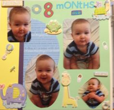 8 months old baby boy scrapbook page