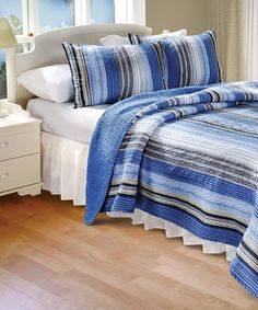 Look at this Blue Brisbane Reversible Quilt Set on #zulily today!