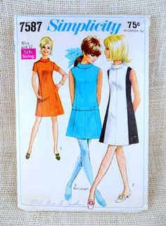 Simplicity 7587 Vintage Sewing Pattern by momandpopcultureshop Vintage Sewing Patterns, Clothing Patterns, Simplicity Fashion, Dirndl Skirt, Mod Dress, Drop Waist, Fashion News, 1960s, Vintage Outfits