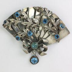 Hobé vintage jewelry - sterling and aquamarine fan brooch