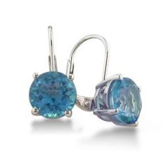 Sterling Silver 5 ct Blue Topaz Leverback Earrings