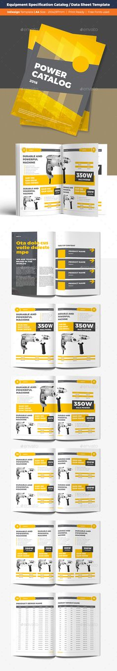 Equipment Specification Catalog / Data Sheet Template Catalog Brochure Template by S-Designers. Page Design, Book Design, Layout Design, Indesign Templates, Brochure Template, Adobe Indesign, Editorial Layout, Editorial Design, Brochure Design