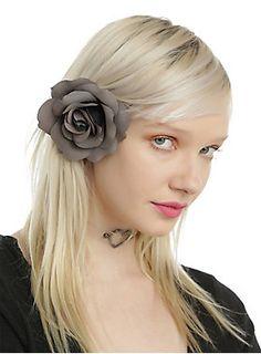 "Hair clip with a grey rose accent. Alligator clasp.<br><ul><li>Approx. 3 1/2"" across</li><li>Imported<br></li></ul>"