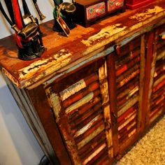 Sideboard made from old shutters (above and below)