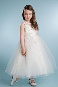 Stunning dress with crystal beading and lace. #flowergirldress #Petiteadele #ivorydress #satindress  #communiondresses #childrensfashion #sequin #easterdress #springdress #Summmerdress