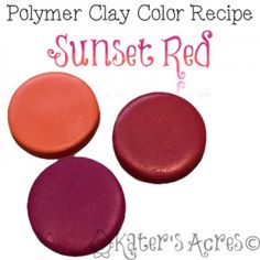 Promo! Polymer Clay Color Recipe for Sunset Red by KatersAcres 1:1 Orange, Fuschia #Polymer #Clay #Colormix