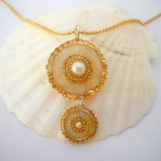 Pearl pendant, Gold White Sterling silver necklace, Double circle pendant necklace, Gold filled chain, Golden pendant inlaid with two pearls