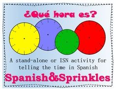 "This is an activity to help students practice telling the time to the quarter-hour in Spanish. In my Spanish classroom, we glue this in our Interactive Student Notebooks opposite the ""notes"" page for time.When given a time in either analog, digital, or sentence form, students are to provide the other two ways of writing the same time."