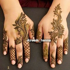 New bridal mehendi designs arabic fingers Ideas Hena Designs, Finger Henna Designs, Mehndi Designs 2018, Mehndi Designs For Girls, Modern Mehndi Designs, Mehndi Design Pictures, Beautiful Henna Designs, Arabic Mehndi Designs, Henna Tattoo Designs