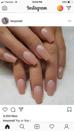 Installation of acrylic or gel nails - My Nails Ambre Nails, Nude Nails, Bridal Nails, Wedding Nails, Sparkle Wedding, Wedding Makeup, Hair And Nails, My Nails, Sparkle Nails