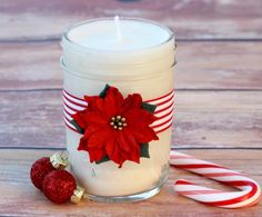 Making Homemade Soy Candles is so fun, and these Peppermint candles make the best Christmas gifts, too! Check out this easy step-by-step tutorial! Diy Holiday Gifts, Homemade Christmas Gifts, Homemade Gifts, Christmas Diy, Christmas Stuff, Holiday Decorations, Christmas Recipes, Holiday Crafts, Mason Jar Gifts