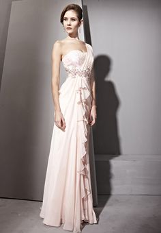 Pink One Shoulder Beaded Mesh Sleeve Prom Formal Party Long Evening Dress