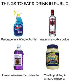 I'm up for the challenge. I want to do the Gatorade in a windex bottle. I think that would be the best. I wouldn't do the water or the grape juice one but the mayonnaise pudding would be funny too Dawn Of Justice, Man Of Steel, Funny Pranks, Funny Memes, Awesome Pranks, Evil Pranks, Harmless Pranks, Awesome Meme, Lmfao Funny