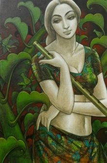Green mixed-media Painting by Sukanta Das on Canvas, Figurative based on theme Sukanta Das. Indian Women Painting, Indian Artist, Indian Paintings, Woman Painting, Figure Painting, Bengali Art, India Art, Modern Art Paintings, Online Painting