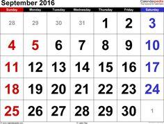September 2016 Calendar PDF