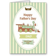 Train Station Fathers Day Greeting Greeting Card for Dad. Customize front and matching inside area