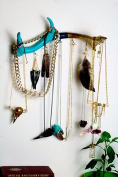 Jewellery hanger hand painted antler in by VirginiatheWolf on Etsy