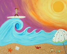 Beach Surfing hand painted art for kids rooms & nursery